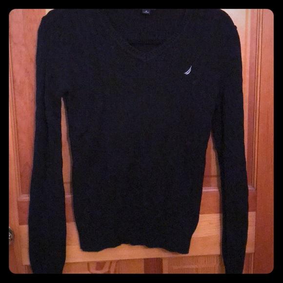 Nautica Sweaters L Black Cable Knit Sweater Poshmark